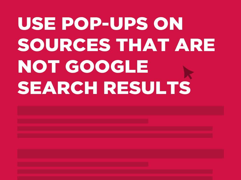 Google találati lista felugró ablak