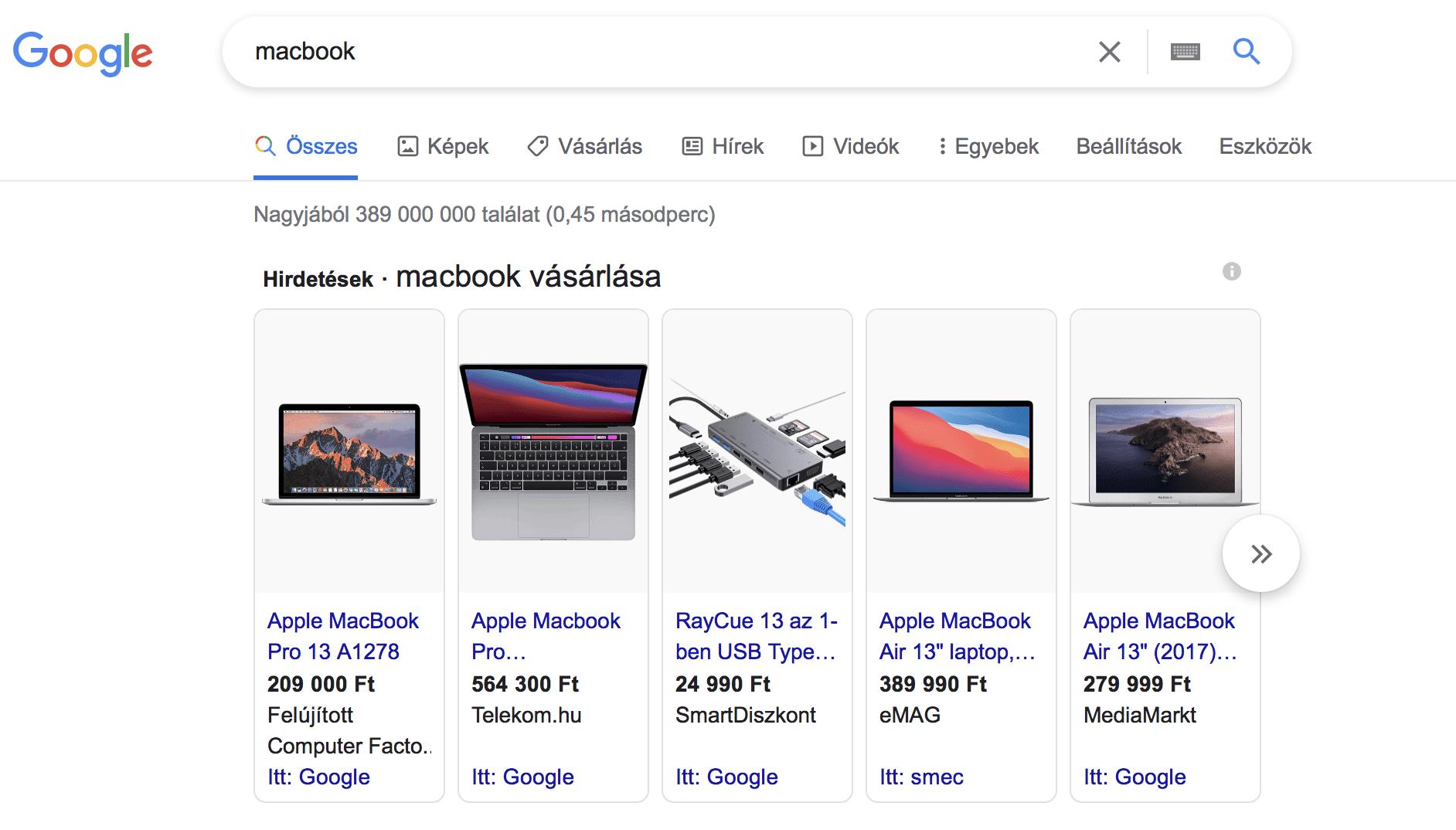 Macbook Google Shopping