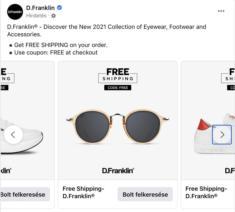 D. Franklin márka Facebook Bolt hirdetés